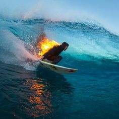 Surfer Jamie O'Brien and his team made the fiery stunt look easy. But turns out, it took months of planning and some very specific gear to get right.