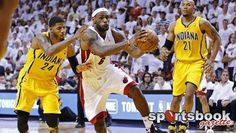 James saves Miami in opening NBA Eastern Finals win over Indiana  LeBron James scored the game-winning points in the dying embers of overtime as the Miami Heat held off a determined Indiana Pacers 103-102 in a thrilling NBA Eastern Conference Finals opener. http://www.sportsbookgazette.com/live-odds/nba-odds