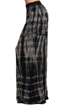 MADE TO ORDER Womens Gray & Black Super Wide Leg Stretch Smocked Hippie Boho Palazzo Pants