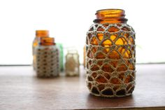 Crochet Bottles  great idea for dressing up jams and jellies for gifts