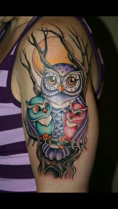 Mom and baby owl tattoo