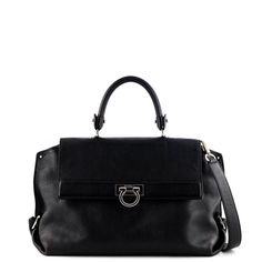 7d9b9e2973 Salvatore Ferragamo Black Pebbled Leather Sofia Satchel -  1100 CAD