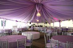 décoration plafond mariage draps