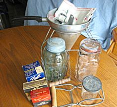 Vintage berry strainer and mason fruit jar assortment for sale at More Than McCoy at http://www.morethanmccoy.com