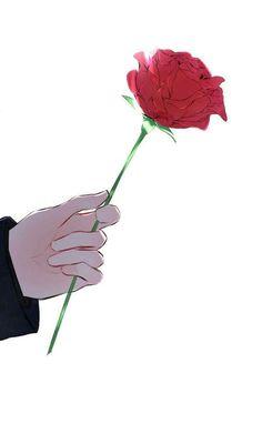 A rose was his calling card. He had always called me his little rose. Art Anime, Anime Art Girl, Anime Guys, Manga Anime, Image Manga, Couple Wallpaper, Couple Art, Anime Couples, Aesthetic Anime