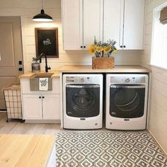 21 Laundry Room Makeover Ideas - Captain Decor, modern farmhouse laundry room with laundry room organization, laundry room storage, neutral laundry room with open shelves Country Laundry Rooms, Mudroom Laundry Room, Laundry Room Remodel, Laundry Room Cabinets, Laundry Room Organization, Laundry Room Design, Laundry In Bathroom, Organization Ideas, Storage Ideas