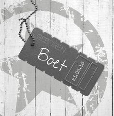 Geboortekaartje | Boet Jongen, stoer, label, ster, stempel