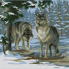 wolf cross stitch patterns free - Google Search