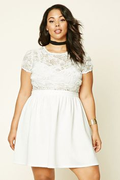 8743229a50f Forever 21+ - A fit and flare dress featuring a knit shirred skit