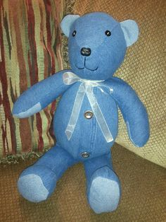 I make memory bears from your loved ones clothing. This memory bear was made from a denim skirt.  creativecraftsbydawn.webs.com  or on facebook at creative crafts by dawn
