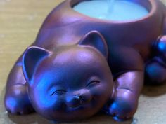 Happy Cat color shift tea light holder now available and I love it! #gothichomedecor #colorshift #resinart