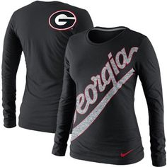 Nike Georgia Bulldogs Ladies Angled Script Long Sleeve Tri-Blend T-Shirt - Black