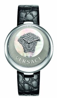 Versace Women's 87Q99SD497 S009 Perpetuelle Mother-Of-Pearl Pave` Diamonds Genuine Alligator Watch Versace. $2575.00. Precise Swiss Quartz ISA K62/132 movement. Water-resistant to 99 feet (30 M). White Mother-Of-Pearl dial with white pave` diamonds. Black genuine alligator leather band with butterfly buckle; Sapphire crystal with anti-reflex treatment. Stainless steel case with sunray inner ring with Versace logo embossed