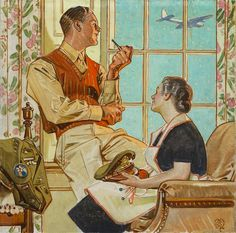 "Leyendecker illustration, oil 19 x 19 inches - ""soldier at home"" Art And Illustration, American Illustration, Illustrations Posters, Norman Rockwell, Jc Leyendecker, Belle Photo, Traditional Art, Art History, Vintage Art"