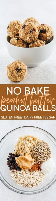 No Bake Peanut Butter Quinoa Energy Balls #vegan #glutenfree #dairyfree
