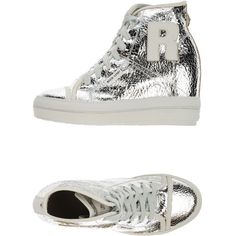 Ruco Line High-tops & Trainers ($79) ❤ liked on Polyvore featuring shoes, sneakers, silver, wedge high tops, leather sneakers, wedge shoes, leather hi top sneakers and wedge sneakers