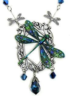 Art Nouveau dragonfly necklace, silver filigree, handpainted jewellery, dragonfly pendant, crystal jewellery, victorian pendant