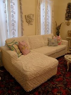 Furniture slipcovers made from vintage chenille bedspreads