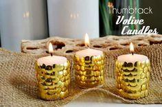 como fazer vela de tachinhas, vela dourada, vela natal, decoração de natal, candles, christmas decor, diy, do it yourself