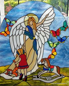 Witraże Tiffany Galeria Anna Danowska Wooden Angel, Stained Glass Angel, Gods Plan, Pictogram, Glass Panels, Embroidery, Joker, Painting, Art