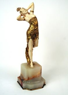 Salome by Henri FUGERE. Gilded bronze and hand carved ivory sculpture by Henri Fugere on an onyx base. Made in France circa 1910. Signature: H Fugere. Ref.: Art Deco and Other Figures by Bryan Catley, p. 152 (hva)