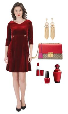 Elastic velvet flaring dress, moderate clos, with V low-cut-neck and side front folds with crystals inserts. Red Velvet Dress, Romantic Outfit, Secret Love, Ss16, Spring 2016, Opi, Gucci, Store, Polyvore