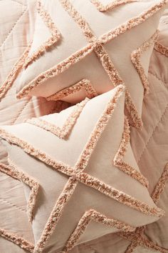 Textured Corell Euro Sham by Anthropologie in White, Bedding Sewing Pillows, Wool Pillows, Diy Pillows, Decorative Pillows, Cushions, Throw Pillows, Triangle Pillow, Cushion Cover Designs, Punch Needle Patterns