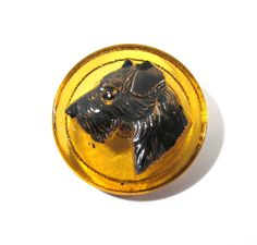 Czech Terrier Button Hand Painted Amber Glass Czech Glass Button One (1) Czech Glass Dog Terrier Vintage Button Jewelry Supplies (J43) by punksrus on Etsy