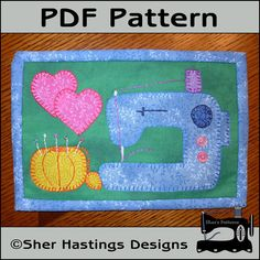 Sewing machine mug rug pattern, sewing machine applique template #mugrug #miniquilt #applique