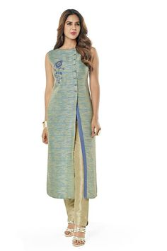 Don't want to compromise on your comfort or style this summer? Then pick this trendy salwar suit and be ready to beat the heat and look dashing at the same time! Buy Raw silk salwar suit online - http://www.aishwaryadesignstudio.com/stunning-blue-and-beige-raw-silk-suit