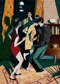 Twist Dance print, 60s, Jazz Club decor, Dance Poster, twist home decor, Mid…