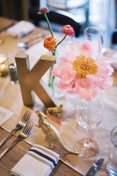 kraft tablecloth with an initial as a table number, photo by Altmix Photography http://ruffledblog.com/modern-atlanta-wedding #weddingideas #tablenumbers