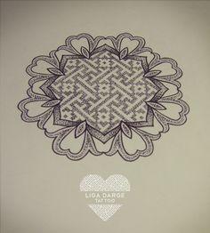 Dotwork mandala design with swastika pattern.