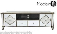 CONTEMPORARY MIRRORED TV STAND WITH GOLD PATTERN 146 Product Description…