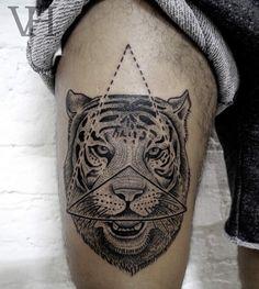 Tiger Tattoo by Valentin Hirsch - http://www.tattooideas1.org/placement/leg/tiger-tattoo-by-valentin-hirsch/