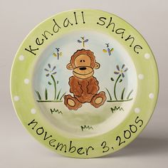 Personalized Ceramic Monkey Plate
