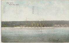 1906 North River Scene NYC Postcard US NAVY BATTLESHIP Atlantic Fleet Warship