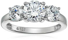 PlatinumPlated Sterling Silver Swarovski Zirconia 2 cttw Round 3 Stone Ring Size 5 >>> To view further for this item, visit the image link. Note: It's an affiliate link to Amazon.