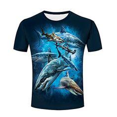 Maoda Men's Fashion Summer Ocean Fish Print Casual T-Shirts 3d Pattern, Fish Print, Men's Fashion, Ocean, Amazon, Casual, Summer, Mens Tops, T Shirt