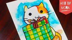 Watercolour Drawing Cat & Gift