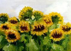 Sunflower field original oil painting by Nancy van den Boom 11,8 x 15,5 inches