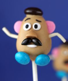 Mr. Potato head cake pop.  This would be cute for a Toy Story themed party.