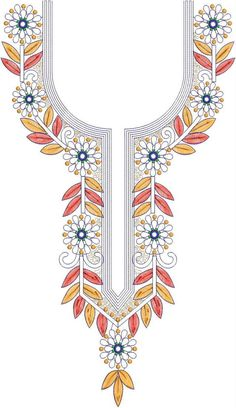 Hand Embroidery Design Patterns, Embroidery Suits Design, Applique Designs, Textile Patterns, Machine Embroidery Designs, Embroidery Stitches, Salwar Neck Designs, Kurta Neck Design, Mexican Embroidery