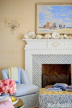 Living room with coastal mantel by Sara Gilbane Design on House Beautiful -Original Source Not Found. For more great coastal and beach theme mantel decorating ideas, go to Completely Coastal.