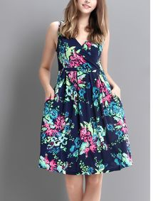 Look at this Blue & Green Floral Surplice Fit & Flare Dress on #zulily today!