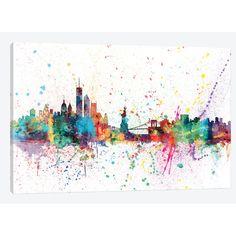 "East Urban Home 'Rainbow Splash Skyline Series: New York City, New York, USA' by Michael Tompsett Painting Print on Wrapped Canvas Size: 12"" H x 18..."