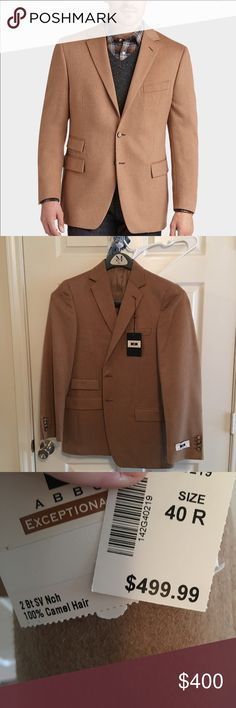 Joseph Abboud camel hair sport coat Modern fit, made to be worn in the winter or fall, so it's pretty warm and has a little extra space in the body for a sweater. Last picture shows color best. First picture is the advertisement for this exact coat. Perfect condition never worn. Comment any questions you may have! joseph abboud Suits & Blazers Sport Coats & Blazers