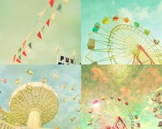 Nursery print - ferris wheel and pennants - this is soft-focus love!   Childs room decor nursery wall art circus prints pale by bomobob, $30.00