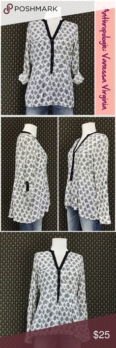 """Anthro """"Honore Buttondown"""" by Vanessa Virginia Size & fabric tags removed, but it's 100% woven rayon & feels like a size small (4/6). Full length sleeves w/button roll tab option.  good preloved condition. Meaurements are approx & taken with the garment l"""
