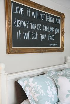 Framed chalkboard/headboard. love this